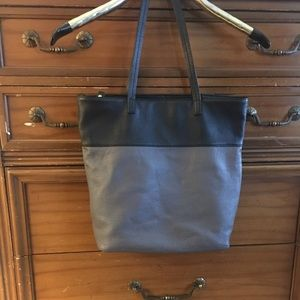 Women's TALBOTS Tote Bag Gray & Black Leather Used